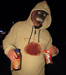 A white trick-or-treater who dressed himself as the unjustly murdered Trayvon Martin.